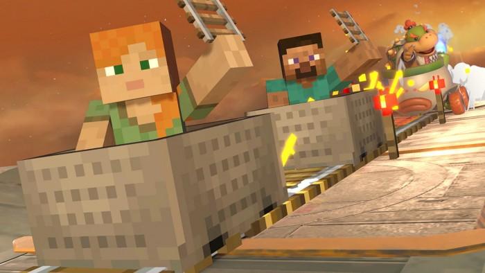 Screenshot von Steve und Alex aus Super Smash Bros. Ultimate