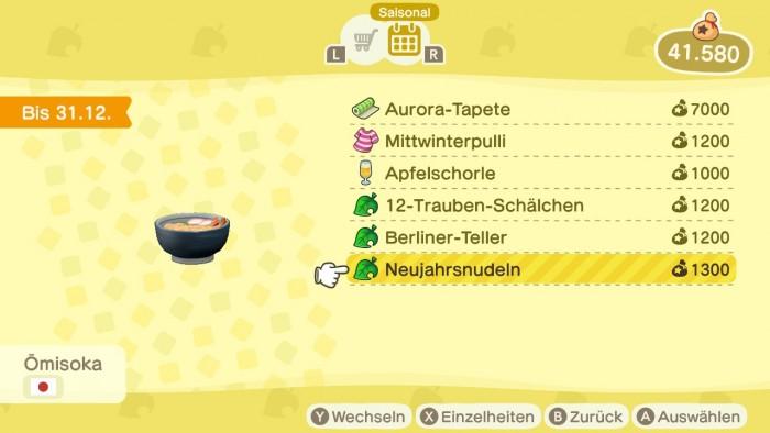 Animal Crossing: New Horizons – Neujahrsnudeln