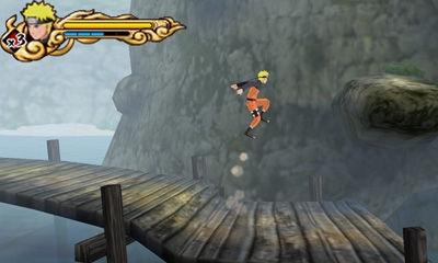 Naruto springt auf eine Plattform