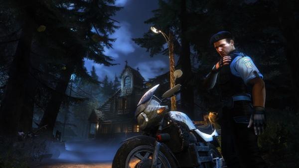 Charakter mit Motorrad vor Vampirhaus