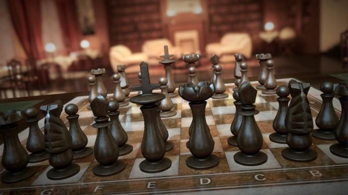 Schach Sofa im Hintergrund