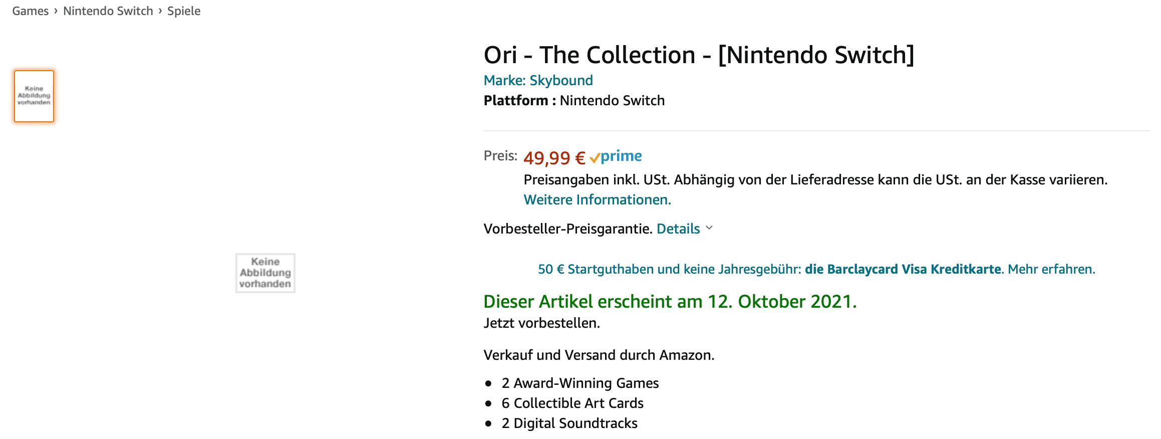 Amazon listet Ori: The Collection als Handelsversion für die Nintendo Switch