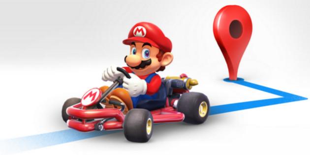 Kult-Klempner im Go-Kart Videospiel-Held Mario navigiert durch Google Maps
