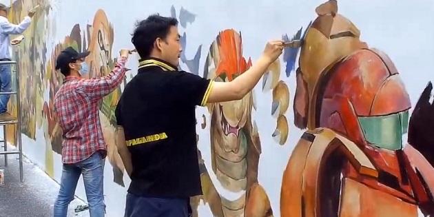 Newsbild zu Shanghai: Künstler errichten ein riesiges Wandgemälde zu Super Smash Bros. Ultimate