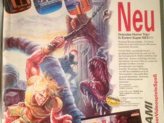 super Castlevania Werbung in der Megablast Herbst'92