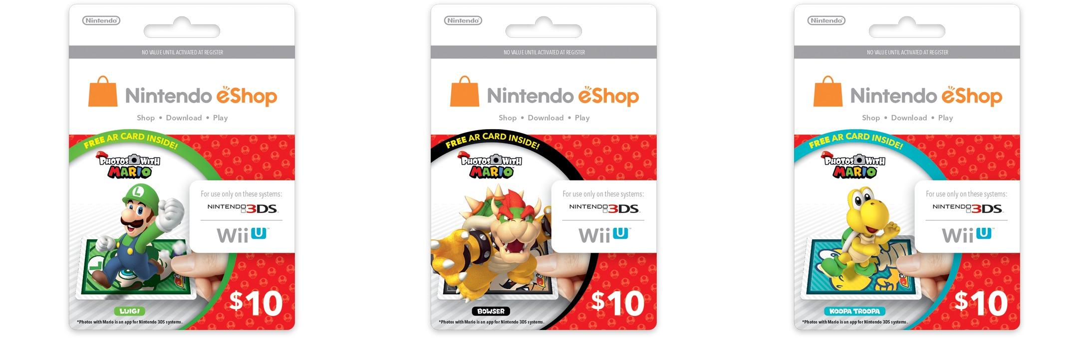 Nintendo Eshop Karte.Nordamerika Nintendo Eshop Cards Mit Ar Karten Zu Figuren Aus Dem